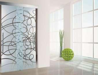 Раздвижные двери из стекла с пескоструйным рисунком